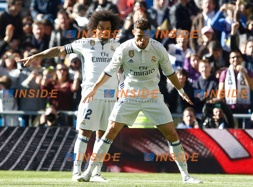 Real Madrid's Marcelo Vieira (l) and Cristiano Ronaldo celebrate goal during La Liga match. January 7,2016. Madrid 07-01-2017 Stadio Santiago Bernabeu <br /> Real Madrid - Granada La Liga <br /> Foto Acero/Alterphotos/Insidefoto