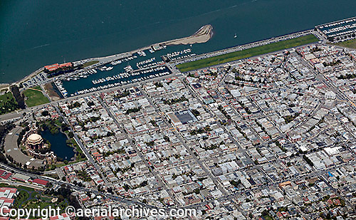 aerial photograph Marina district residential neighborhood San Francisco California