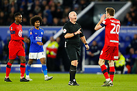 4th January 2020; King Power Stadium, Leicester, Midlands, England; English FA Cup Football, Leicester City versus Wigan Athletic; Referee Simon Hooper talks to Joe Williams of Wigan Athletic following a foul by Williams - Strictly Editorial Use Only. No use with unauthorized audio, video, data, fixture lists, club/league logos or 'live' services. Online in-match use limited to 120 images, no video emulation. No use in betting, games or single club/league/player publications