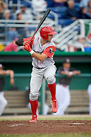 Williamsport Crosscutters right fielder Matt Vierling (28) at bat during a game against the Batavia Muckdogs on June 22, 2018 at Dwyer Stadium in Batavia, New York.  Williamsport defeated Batavia 9-7.  (Mike Janes/Four Seam Images)