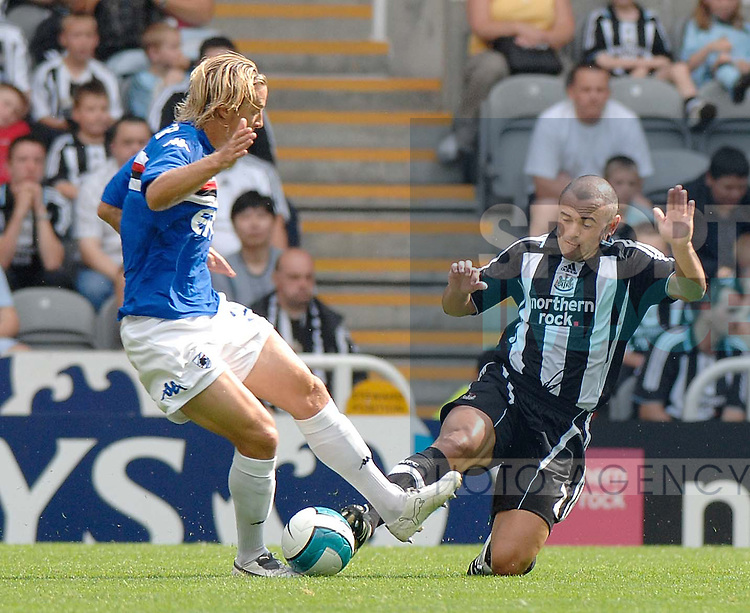 Newcastle's Stephen Carr and Sampdoria's Reto Ziegler.