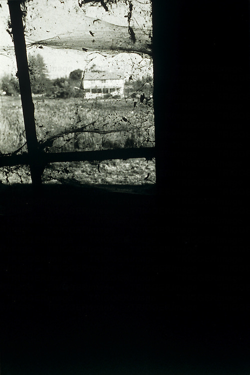 view of house through spider webbed window