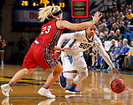 BROOKINGS, SD - JANUARY 25: Alexis Alexander #1 from South Dakota State University tries to get a step past 	Madison McKeever #23 from the University of South Dakota during their game Thursday night at Frost Arena in Brookings. (Photo by Dave Eggen/Inertia)