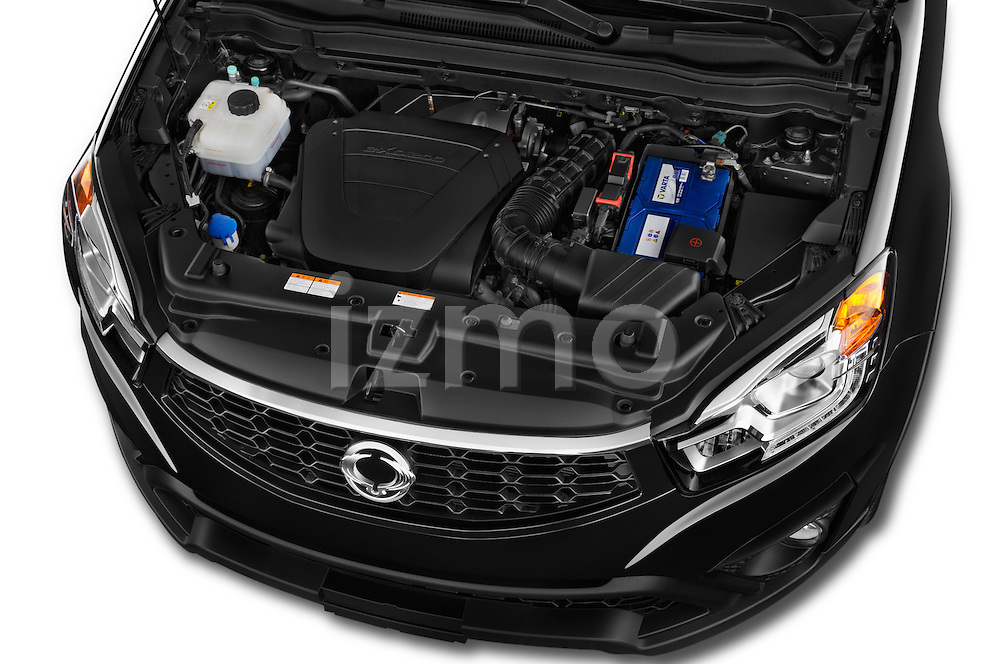 Car Stock2014 Ssangyong Korando Sapphire 5 Door SUV Engine high angle detail view