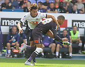 Bolton v Derby. SkyBet Championship. 8/8/15 <br /> <br /> Bolton's Lawrie Wilson, booked after clashing with Derby's Tom Ince, right.<br /> <br /> Credit: PHSP/Harry McGuire
