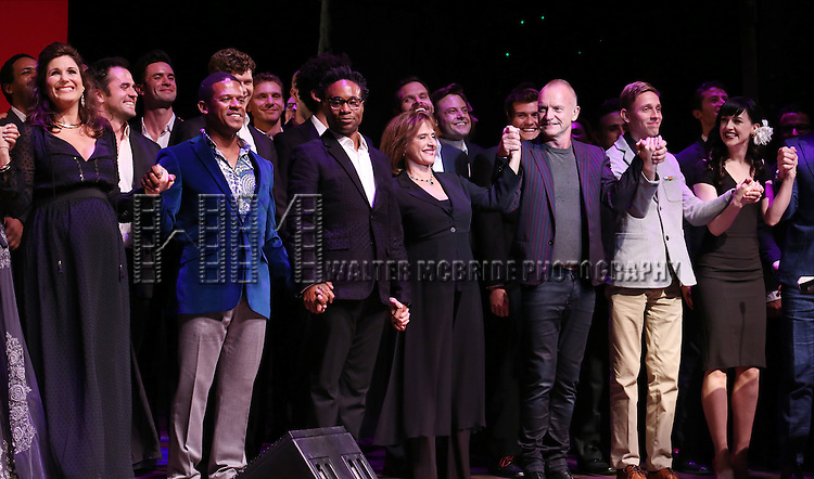 Stephanie J. Block, Billy Porter, Patti LuPone, Sting, Vlad, Lena Hall and cast performing at 'Uprising Of Love: A Benefit Concert For Global Equality' at the Gershwin Theatre on September 15, 2014 in New York City.