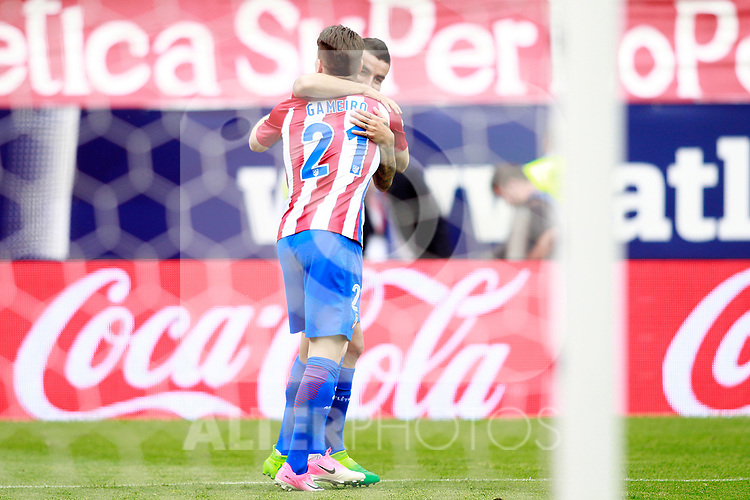 Atletico de Madrid's Angel Correa (r) and Kevin Gameiro celebrate goal during La Liga match. May 21,2017. (ALTERPHOTOS/Acero)