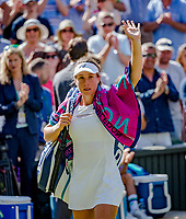 London, England, 5 th July, 2017, Tennis,  Wimbledon,     Johanna Konta (GBR) is waring to the crowd after defeating   Donna Vekic (CRO) , Konta won the match 7/6 4/6 10/8.<br /> Photo: Henk Koster/tennisimages.com