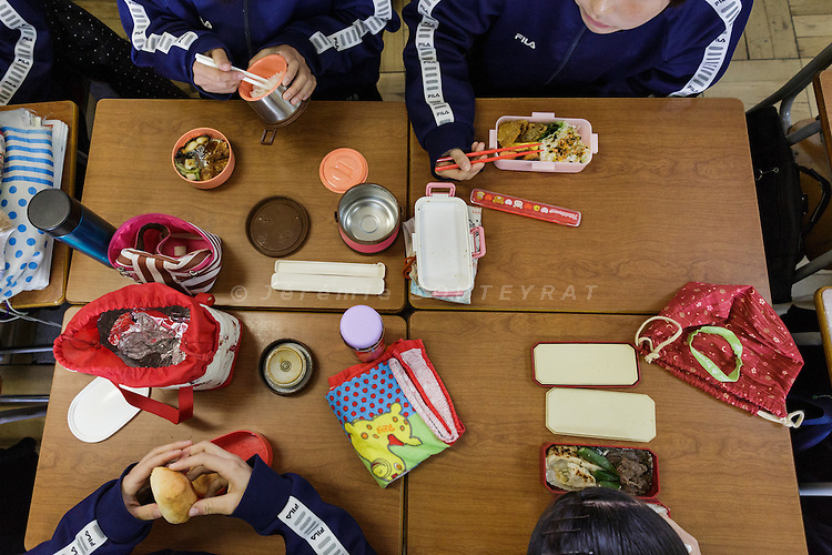 Osaka, Japan, November 25 2016 - Lunch time at East-Osaka Korean middle school (Higashi-Osaka chosen chugakko).<br /> 140 Korean schools are operated in Japan, including kindergartens and one university. The schools were initially funded by North Korea, but this money has dried up and the Japanese government has refused the Chosen Soren (General Association of Korean Residents in Japan with close ties to North Korea)&rsquo;s requests that it fund Korean schools.<br /> Professors at East-Osaka Korean middle school have not been paid for months.