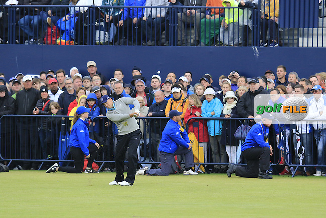 Jordan Spieth (USA) plays his 2nd shot into the 18th green during Monday's Final Round of the 144th Open Championship, St Andrews Old Course, St Andrews, Fife, Scotland. 20/07/2015.<br /> Picture Eoin Clarke, www.golffile.ie