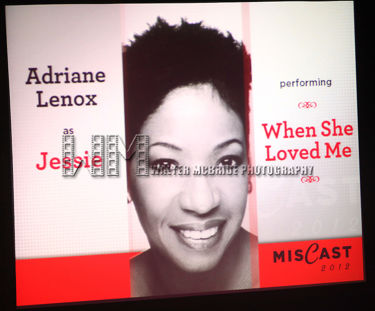 Adriane Lenox.performing in 'MISCAST 2012' MCC Theatre's Annual Musical Spectacular at The Hammerstein Ballroom in New York City on 3/26/2012.
