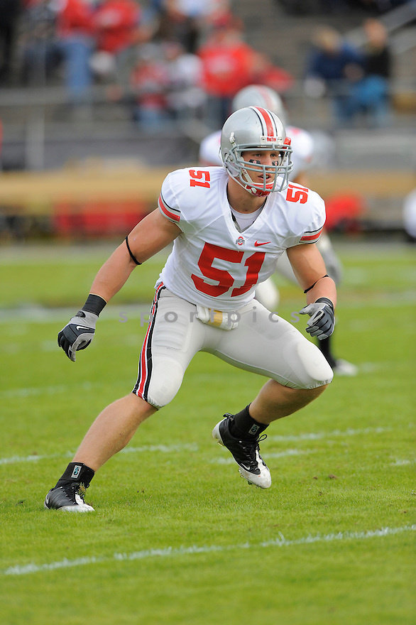 ROSS HOMAN, of the Ohio State Buckeyes, in action during the Buckeyes game against the Purdue Boilermakers  in St. Louis, MO, on October 17, 2009.  Purdue wins 26-18..