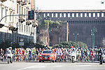 The start of Milano-San Remo cycling race at Piazza Castello in Milan, Italy. 19th March 2016.<br /> Picture: ANSA/CLAUDIO PERI | Newsfile<br /> <br /> <br /> All photos usage must carry mandatory copyright credit (© Newsfile | Claudio Peri)