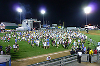 Stage, field and fans toward the end of the show. Furthur Band at McCoy Stadium, Pawtucket RI on 5 July 2012
