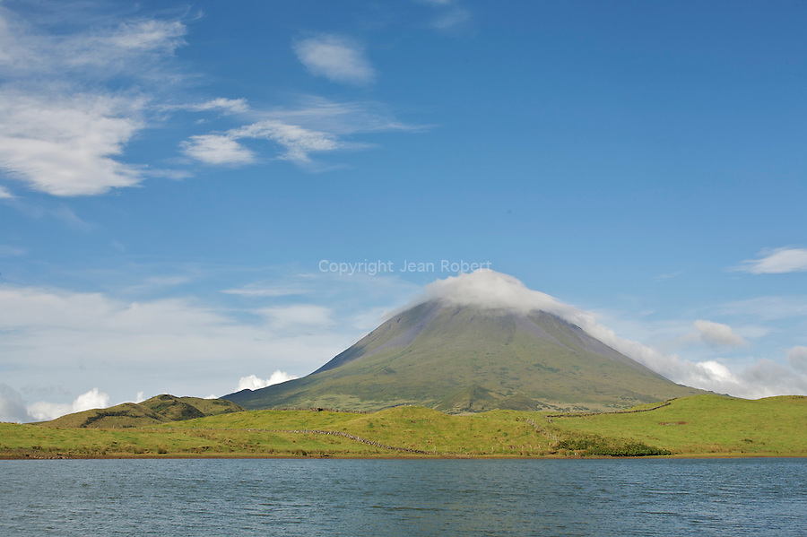 Mount Pico seen from Capitao lake. Pico island