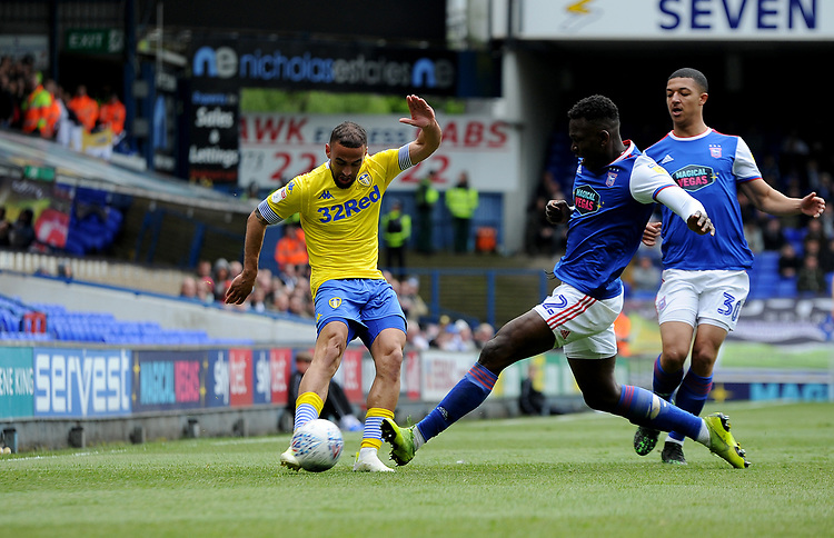 Ipswich Town's Aristote Nsiala battles with Leeds United's Kemar Roofe<br /> <br /> Photographer Hannah Fountain/CameraSport<br /> <br /> The EFL Sky Bet Championship - Ipswich Town v Leeds United - Sunday 5th May 2019 - Portman Road - Ipswich<br /> <br /> World Copyright © 2019 CameraSport. All rights reserved. 43 Linden Ave. Countesthorpe. Leicester. England. LE8 5PG - Tel: +44 (0) 116 277 4147 - admin@camerasport.com - www.camerasport.com