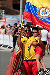 Colombian fans enjoy Stage 1 of La Vuelta 2019, a team time trial running 13.4km from Salinas de Torrevieja to Torrevieja, Spain. 24th August 2019.<br /> Picture: Eoin Clarke | Cyclefile<br /> <br /> All photos usage must carry mandatory copyright credit (© Cyclefile | Eoin Clarke)