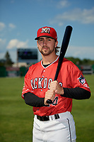 Batavia Muckdogs Harrison DiNicola (24) poses for a photo before a NY-Penn League game against the West Virginia Black Bears on June 26, 2019 at Dwyer Stadium in Batavia, New York.  Batavia defeated West Virginia 4-2.  (Mike Janes/Four Seam Images)