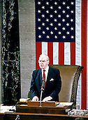 In this file photo dated January 3, 1989, the Speaker of the United States House of Representatives Jim Wright (Democrat of Texas) makes remarks after being sworn-in for his second term as Speaker in the U.S. Capitol in Washington, D.C. Wright passed away at age 92 on May 6, 2015.<br /> Credit: Arnie Sachs / CNP