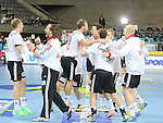 20.01.2013 Barcelona, Spain. IHF men's world championship, eighth.final. Picture show german team in action during game between Germany  vs FYRO Macedonia at Palau st Jordi