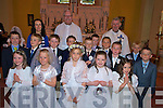 Saoirse Clifford, sinead O'Connell, Daria cichon, Aoife O'Brien, Ellie O'Connor, William Joy, Patrick White, Eoghan Fitzgerald, Bill Fitzgerald, Ciaran O'Sullivan, Keith Floyd, Jack Sweeney, Liam Curran, John O'Connell  and Darren O'Sullivan, Cullina National School, who made their first Holy Communion in Beaufort on Saturday with teacher Lisa O'Sullivan, Fr Sean Duggan and An tAthair Michaeal O'Dochartaigh. .......