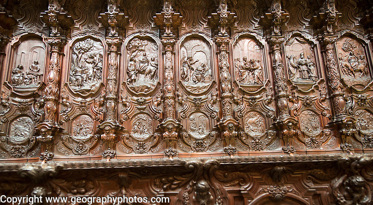 Finely carved mahogany woodwork in the cathedral choir stalls by Pedro Duque Cornejo, Cordoba, Spain