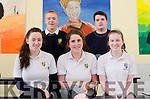 FIRST ONE UNDER THE BELT:  Pictured after completing their English 1 Leaving Cert Exam at Pobal Scoil Inbhear Sceine, Kenmare are (front) Emma Keane, Cliona Lucy and Tara Murphy and rear Flor McCarthy and Sean Harrington.