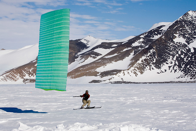 Ronni Ski-sailing in a good wind at Patriot Hills. Antarctica
