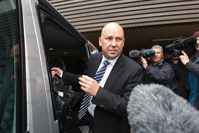 Administrator Paul Clark leaves Ibrox after the creditors and shareholders meetings