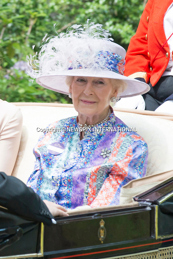 21.06.2017; Ascot, UK: PRINCESS ALEXANDRA<br /> travels in the royal procession to Royal Ascot.<br /> Mandatory Credit Photo: &copy;Dias/NEWSPIX INTERNATIONAL<br /> <br /> IMMEDIATE CONFIRMATION OF USAGE REQUIRED:<br /> Newspix International, 31 Chinnery Hill, Bishop's Stortford, ENGLAND CM23 3PS<br /> Tel:+441279 324672  ; Fax: +441279656877<br /> Mobile:  07775681153<br /> e-mail: info@newspixinternational.co.uk<br /> Usage Implies Acceptance of OUr Terms &amp; Conditions<br /> Please refer to usage terms. All Fees Payable To Newspix International