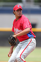 GCL Phillies Luis Morales #76 during a game against the GCL Yankees at the New York Yankees Complex on June 24, 2011 in Tampa, Florida.  The Yankees defeated the Phillies 9-0.  (Mike Janes/Four Seam Images)