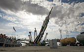 The Soyuz TMA-04M spacecraft is raised into position at launch pad ne, Sunday, May 13, 2012. at the Baikonur Cosmodrome in Kazakhstan. The launch of the Soyuz spacecraft with Expedition 31 Soyuz Commander Gennady Padalka and Flight Engineer Sergei Revin of Russia, and prime NASA Flight Engineer Joe Acaba is scheduled for 9:01 a.m. local time on Tuesday, May 15, 2012..Mandatory Credit: Bill Ingalls / NASA via CNP