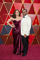 Oscar&reg; nominee for Best Director, Jordan Peele (L) and wife Chelsea Peretti arrive on the red carpet of The 90th Oscars&reg; at the Dolby&reg; Theatre in Hollywood, CA on Sunday, March 4, 2018.<br /> *Editorial Use Only*<br /> CAP/PLF/AMPAS<br /> Supplied by Capital Pictures