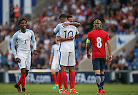 Nathaniel Chalobah (left) (Chelsea) of England & Lewis Baker (Vitesse Arnhem, loan from Chelsea) of England congratulate fellow Chelsea player Ruben Loftus-Cheek (10) (Chelsea) of England on his goal, all three of them scoring on the night during the International EURO U21 QUALIFYING - GROUP 9 match between England U21 and Norway U21 at the Weston Homes Community Stadium, Colchester, England on 6 September 2016. Photo by Andy Rowland / PRiME Media Images.