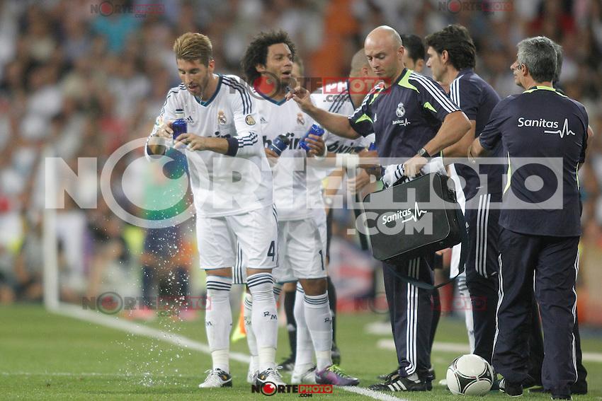 Real Madrid's  players during Super Copa of Spain on Agost 29th 2012...Photo:  (ALTERPHOTOS/Ricky) Super Cup match. August 29, 2012. <br />  (foto:ALTERPHOTOS/NortePhoto.com<br /> <br /> **CREDITO*OBLIGATORIO** <br /> *No*Venta*A*Terceros*<br /> *No*Sale*So*third*<br /> *** No*Se*Permite*Hacer*Archivo**<br /> *No*Sale*So*third*