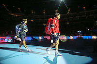 17th November 2019; O2 Arena, London, England; Nitto ATP Tennis Finals; Pierre-Hugues Herbert (FRA) and Nicolas Mahut (FRA) walks towards to the court for the Doubles Final match with Raven Klaasen (RSA) and Michael Venus (NZL) - Editorial Use