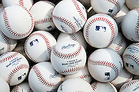 CHICAGO - April  02:  The suns shines on rawhide and stitches in this still life view of baseballs at Wrigley Field in Chicago, Illinois on April 2, 2008.  (Photo by Chris Bernacchi/MLB Photos via Getty Images)