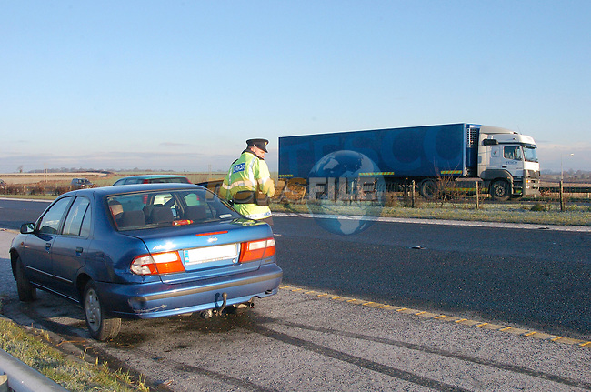 One  of the cars involved in the Accident on the M1 Motorway North of the Dunleer interchange on saturday Morning. This Vehicle still on the North boune lane as the other car had crossed the central reservation and collieded with the lorryon the South Bound Carriageway..Photo Fran Caffrey Newsfile.ie..This Picture has been sent to you by Newsfile Ltd..The Studio,.Millmount Abbey,.Drogheda,.Co. Meath,.Ireland..Tel: +353(0)41-9871240.Fax: +353(0)41-9871260.ISDN: +353(0)41-9871010.www.newsfile.ie..general email: pictures@newsfile.ie