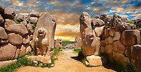 Photo of the Hittite releif sculpture on the Lion gate to the Hittite capital Hattusa 14