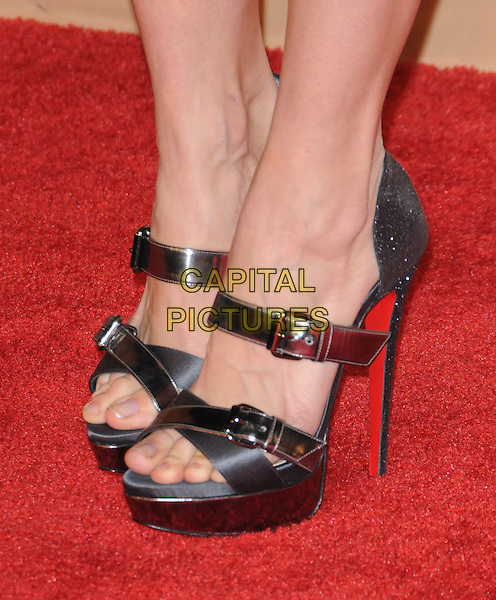 ANNALYNNE McCORD's shoes  .at The CNN Heroes: An All-star Tribute held at The Shrine Auditorium in Los Angeles, California, USA, .November 20th, 2010..detail platform shoes open toe grey gray buckles             christian louboutin                                               .CAP/RKE/DVS.©DVS/RockinExposures/Capital Pictures.