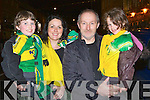 Brendan, Marian, Brendan and Saoirse Casey Gneeveguilla cheer on their heroes at the Kerry team homecoming to Killarney on Monday night..