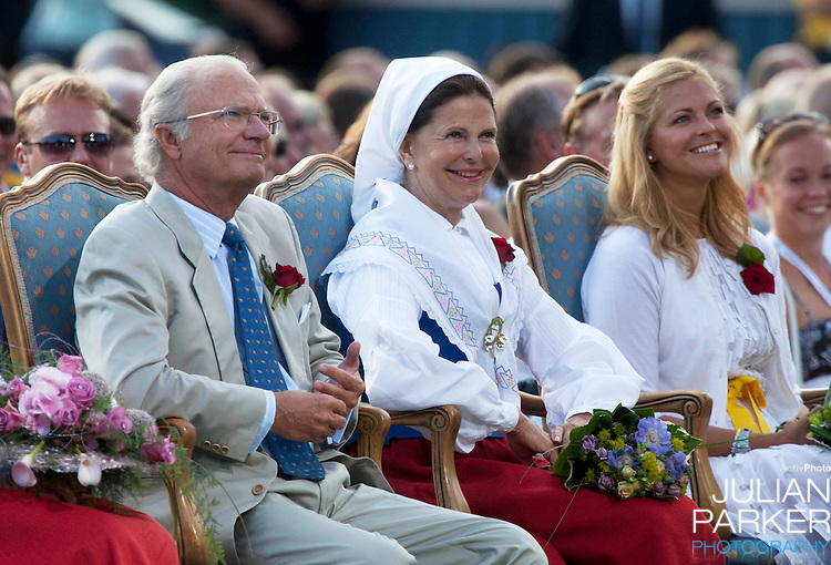 Crown Princess Victoria of Sweden celebrates her 32nd Birthday at a concert in Borgholm, on the Island of Oland in Sweden..Accompanied by her fiance Daniel Westling, and King Carl Gustaf, and Queen Silvia of Sweden, Prince Carl Phillip, and Princess Madeleine of Sweden.King and Queen of Sweden