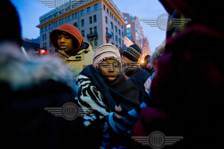 Thousands of people waited in the streets from the early hours of the morning in frigid temperatures to see the inauguration of Barack Obama as the 44th President of the United States.