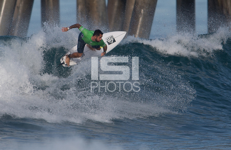 Huntington Beach, CA - Thursday August 03, 2017: Billy Kemper during a World Surf League (WSL) Qualifying Series (QS) second round heat in the 2017 Vans US Open of Surfing on the South side of the Huntington Beach pier.