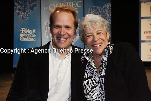 May 02, 2012 -  File Photo - Montreal, Quebec, CANADA -  Quebec en Nous<br />  News Conference  - Christopher Hal, Louise Forestier (R)