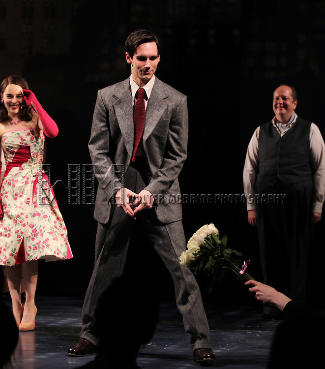 Emilia Clarke, Cory Michael Smith & Tony Torn  during the Opening Night Performance Curtain Call for  'Breakfast At Tiffany's' at the Cort Theatre in New York City on 3/20/2013