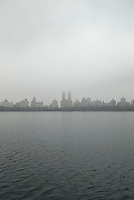 Manhattan's Upper West Side Seen from the Central Park Resevoir on an Overcast, Foggy Day, New York City, New York State, USA