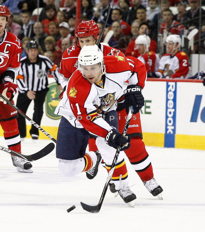 NICLAS BERGFORS, of the Florida Panthers in action during the Panthers game against the Carolina Hurricanes on March 1, 201, at the RBC Center in Raleigh, NC. The Hurricanes beat the Panthers 2-1.