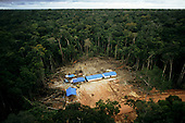 Caraoari, Amazonas State, Brazil. Petrobras oil exploration site in the Amazon, in newly cleared rainforest location.