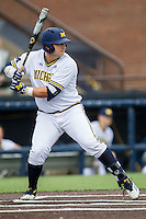 Michigan Wolverines catcher Harrison Wenson (7) at bat against the Oakland Golden Grizzlies on May 17, 2016 at Ray Fisher Stadium in Ann Arbor, Michigan. Oakland defeated Michigan 6-5 in 10 innings. (Andrew Woolley/Four Seam Images)
